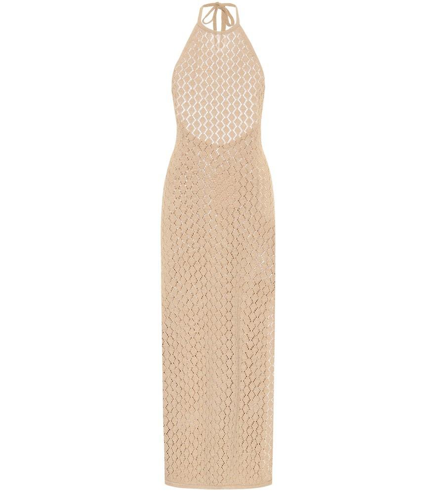 Cult Gaia Karen crocheted knit midi dress in beige