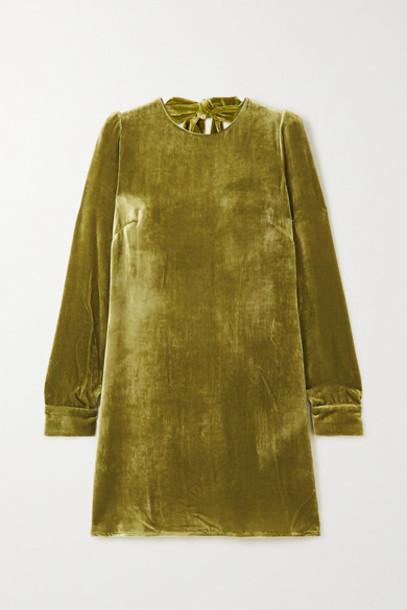 Reformation - Kyra Open-back Velvet Mini Dress - Green