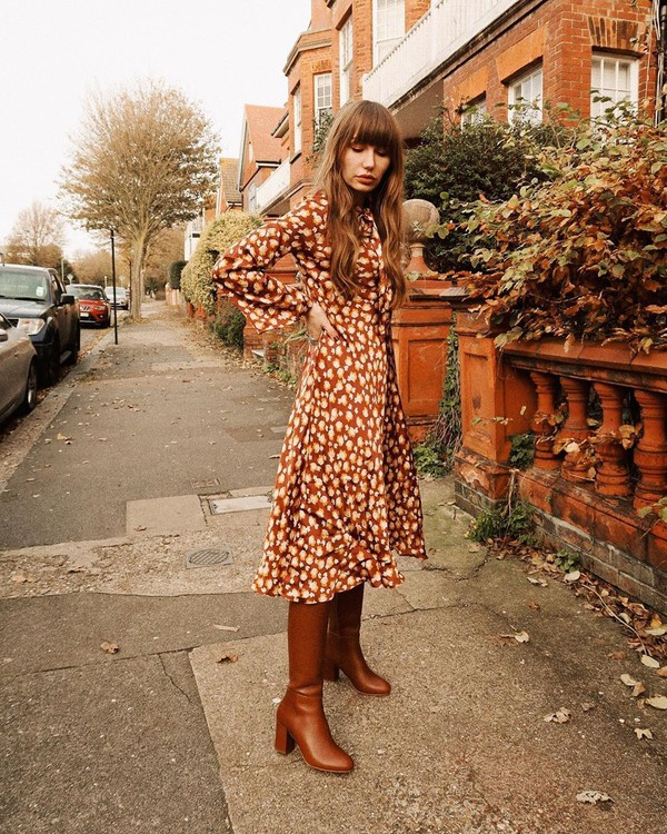 shoes knee high boots brown boots midi dress floral dress long sleeve dress