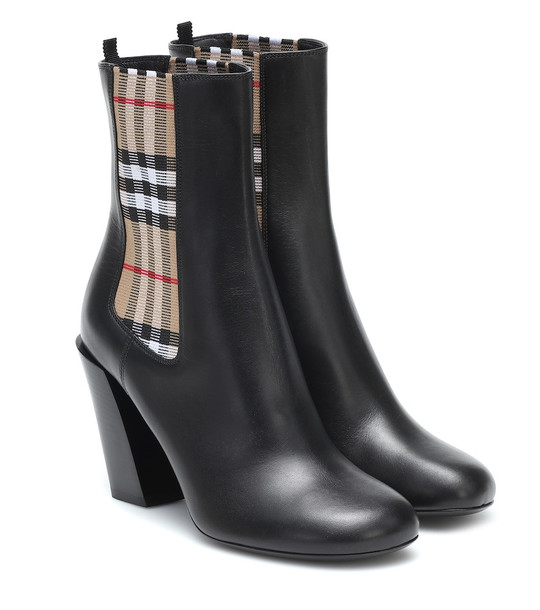 Burberry Vintage Check leather ankle boots in black
