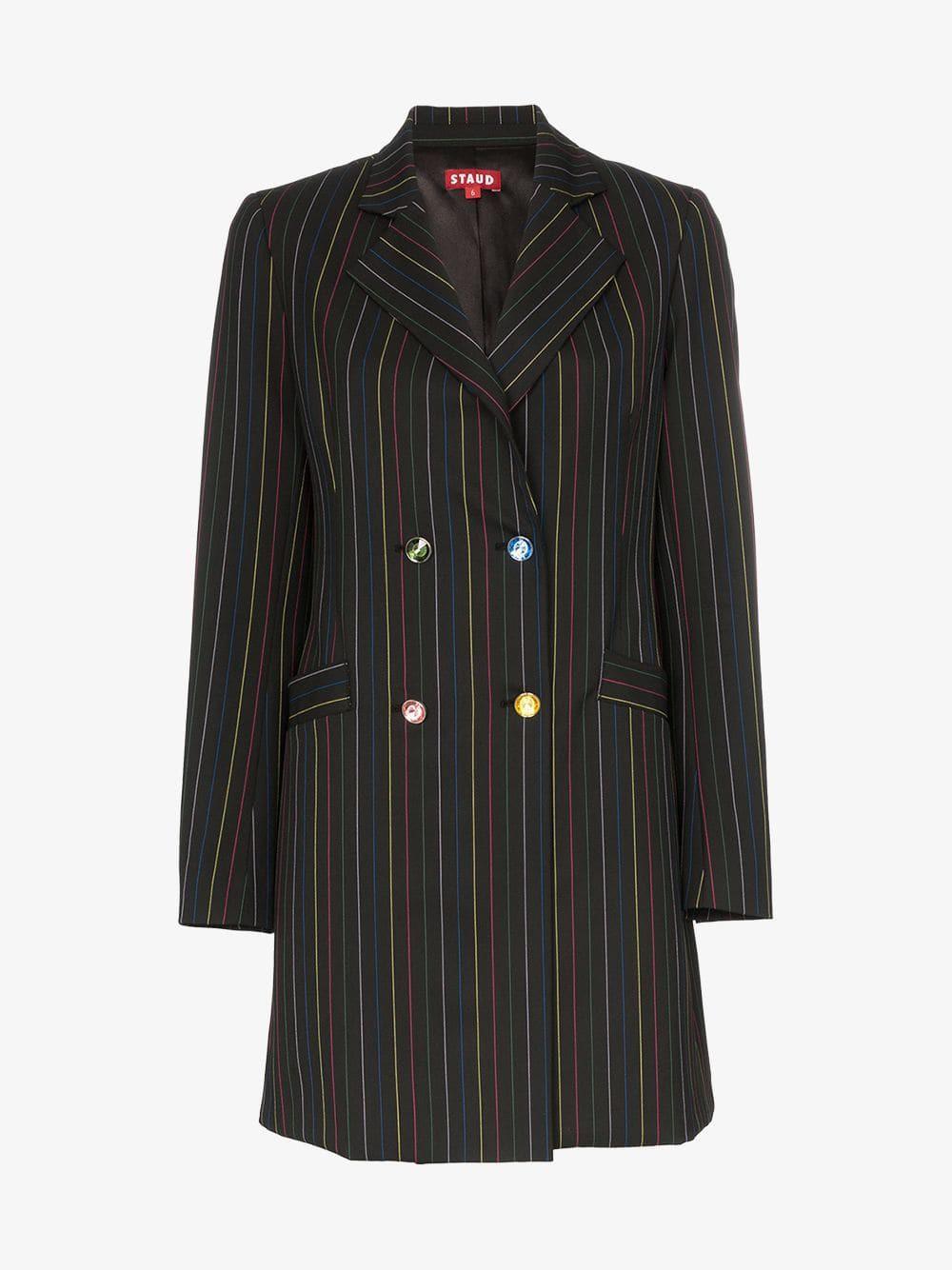 Staud Roxy rainbow stripe blazer mini dress in black