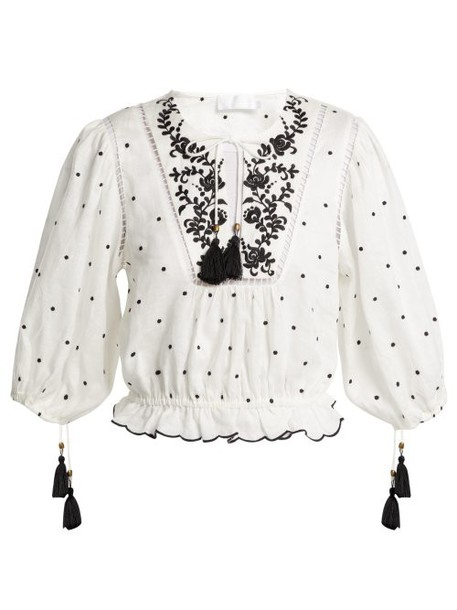 Zimmermann - Tali Embroidered Linen Top - Womens - Ivory
