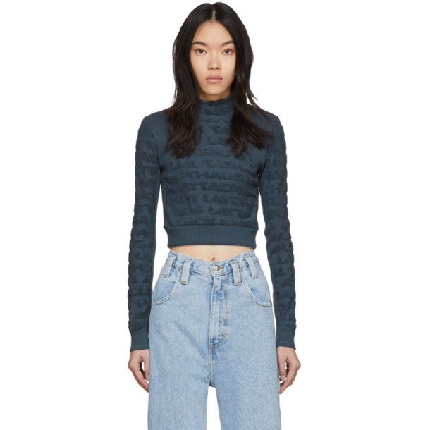 Eckhaus Latta Blue Anagram Cropped Turtleneck