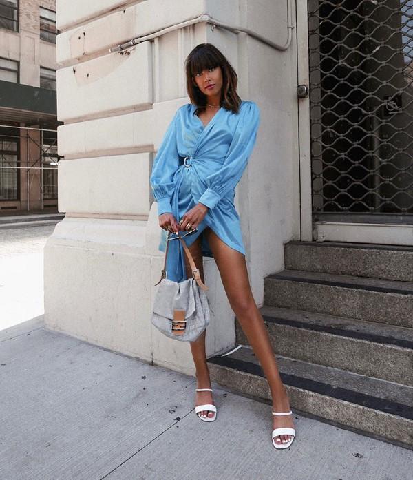 dress wrap dress sandal heels long sleeve dress shoulder bag