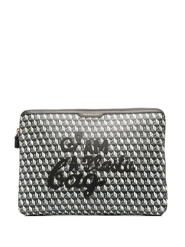 Anya Hindmarch geometric-print laptop bag in black