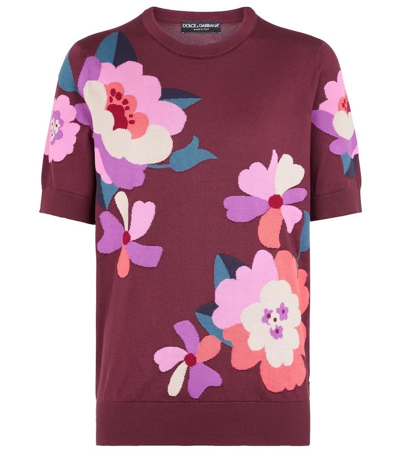 Dolce & Gabbana Floral intarsia silk sweater in red