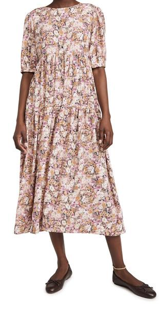 En Saison Floral Tiered Midi Dress in multi