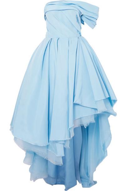 Alexander McQueen - One-shoulder Asymmetric Distressed Silk-twill Gown - Blue