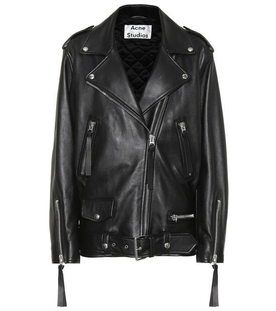 Acne Studios New Myrtle leather jacket in black