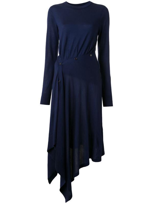 Sies Marjan Charlotte asymmetric knit dress in blue