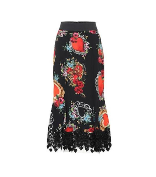 Dolce & Gabbana Printed crêpe midi skirt in black