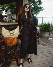 dress,shirt dress,black dress,maxi dress,lace dress,black flats,bag,sunglasses
