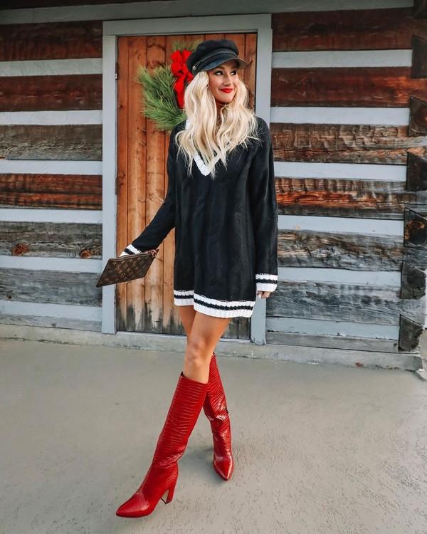 dress black dress knitted dress red boots knee high boots beret bag