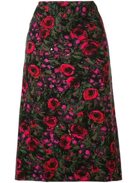Marni floral print straight-fit skirt in green