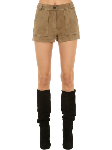 YVES SALOMON Suede Shorts in beige / beige