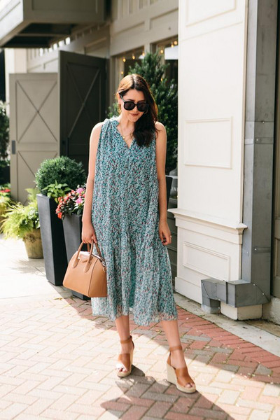 kendi everyday blogger dress top shoes wedges midi dress summer outfits