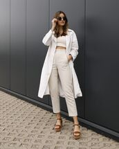 pants,cropped pants,high waisted pants,platform sandals,white top,crop tops,trench coat,white coat