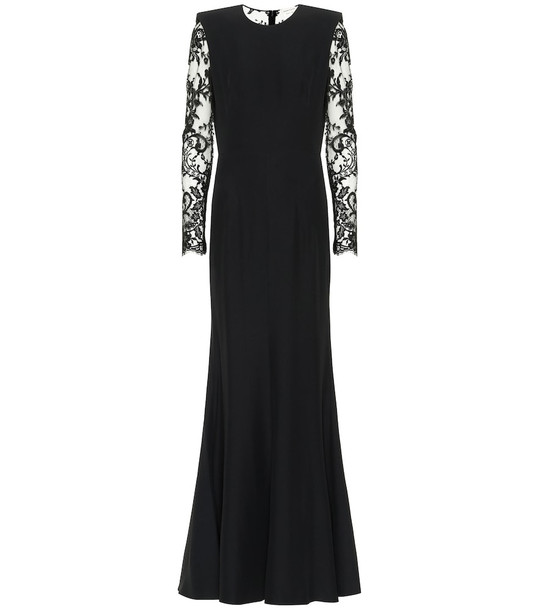 Alexander McQueen Crêpe and lace gown in black