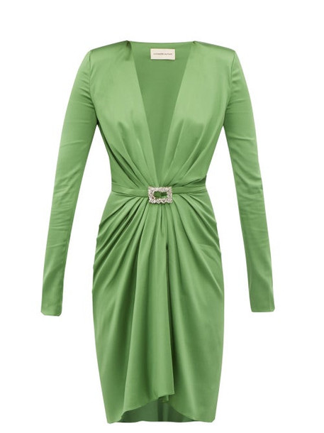 Alexandre Vauthier - Crystal Buckle Silk Blend Charmeuse Mini Dress - Womens - Green
