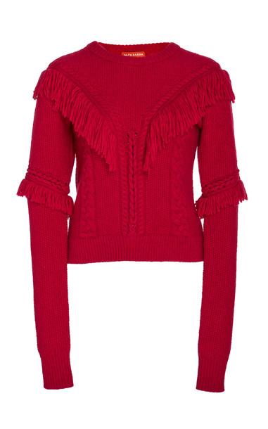 Altuzarra Buckeye Fringe Knit Sweater in pink