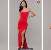 dress,slit,beautiful back,red dress,prom,backless dress