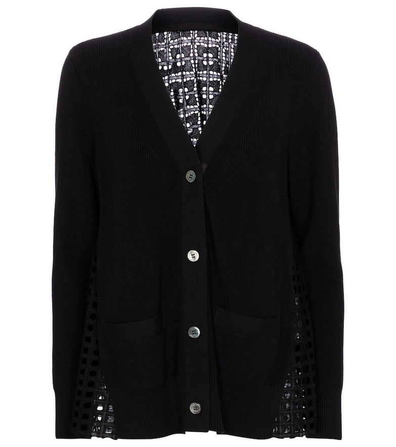 Sacai Lace-trimmed cotton cardigan in black