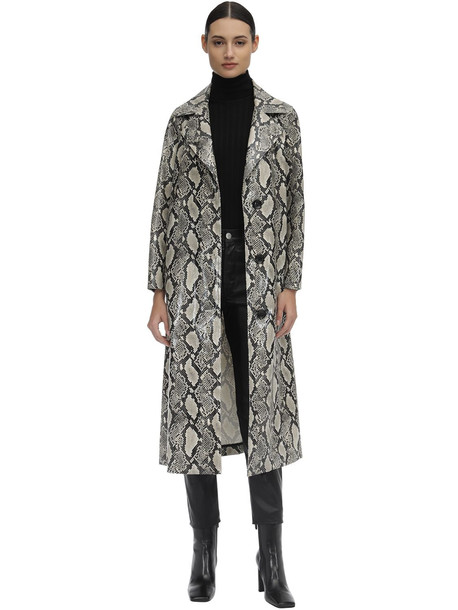 STAND Mollie Printed Faux Leather Trench Coat in beige