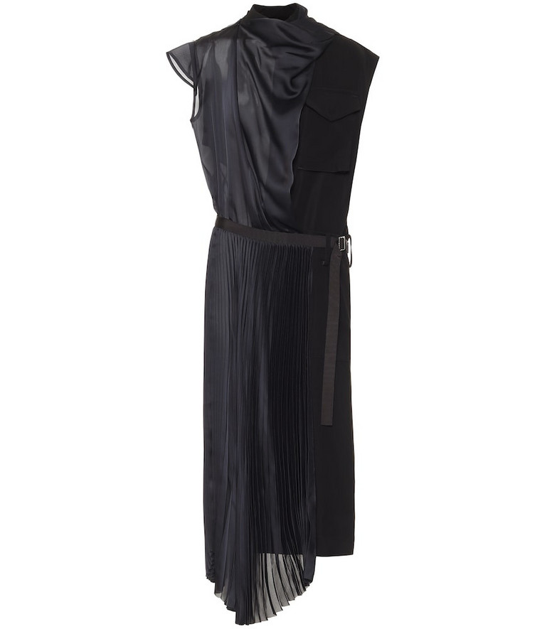 Sacai Satin belted midi dress in black