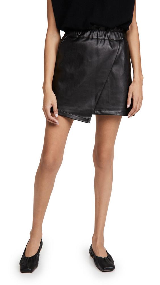 Joe's Jeans Faux Leather Wrap Mini Skirt in black
