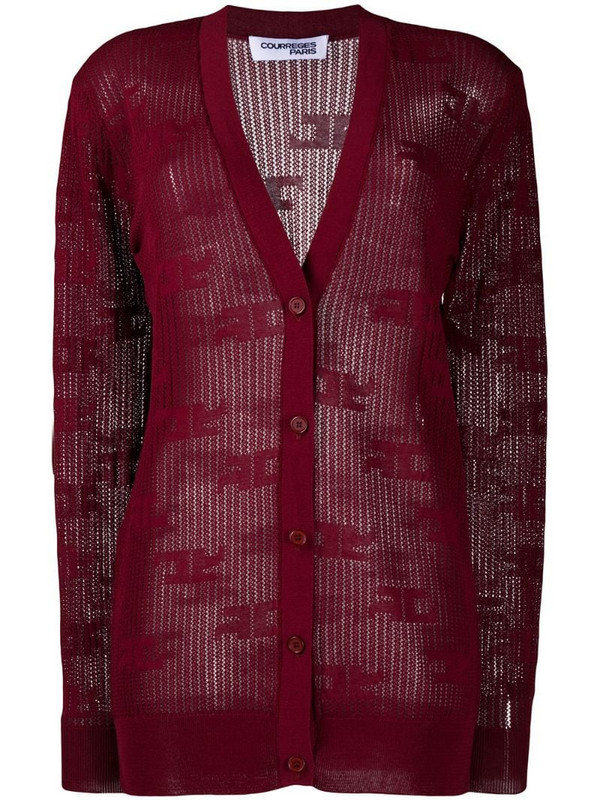 Courrèges all-over logo cardigan in red