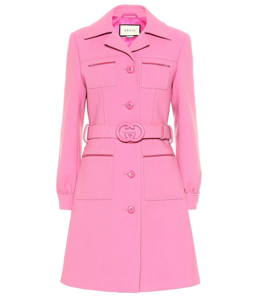 Gucci Belted wool coat in pink