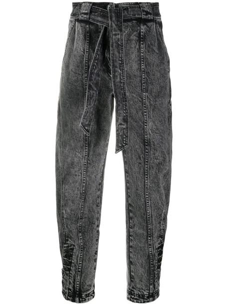 Ulla Johnson tie-waist tapered jeans in grey