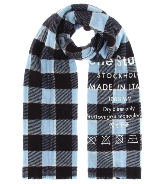 Acne Studios Checked wool scarf in blue