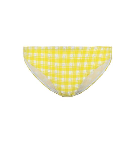 Ganni Checked seersucker bikini bottoms in yellow