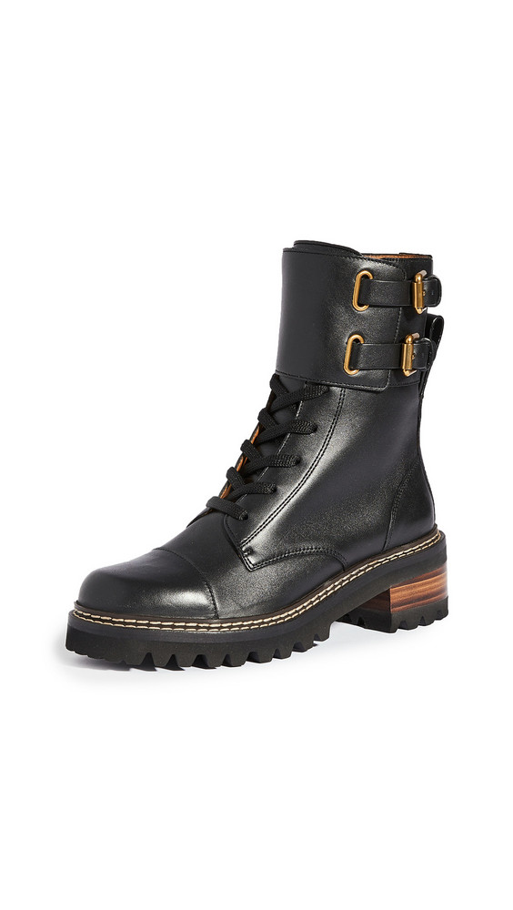 See by Chloe Combat Mallory Boots in nero