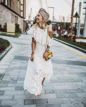 dress,asymmetrical dress,embroidered dress,white dress,zimmermann,shoulder bag,turban