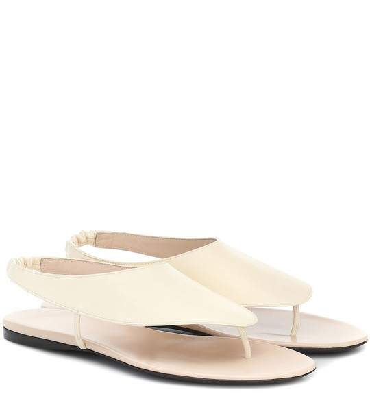 The Row Ravello leather sandals in white