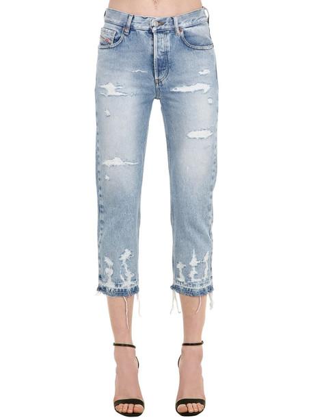 DIESEL Aryel Distressed Cotton Denim Jeans in blue