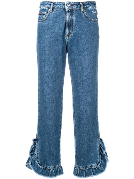 MSGM cropped leg jeans in blue