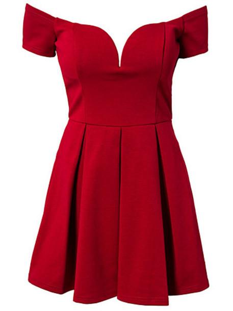 dress bardot dress off the shoulder plunge neckline sweetheart dress skater dress