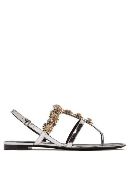 Fabrizio Viti - Metallic Daisy Embellished Flat Leather Sandals - Womens - Silver