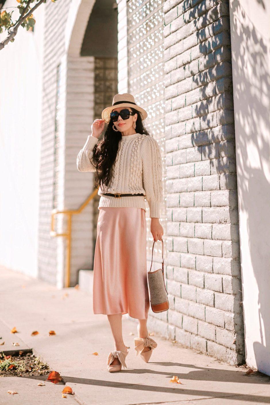 hallie daily blogger hat bag belt sunglasses jewels satin dress beige sweater bow shoes