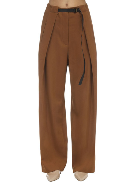 THE ROW Brona Diagonal Wool Pants in brown