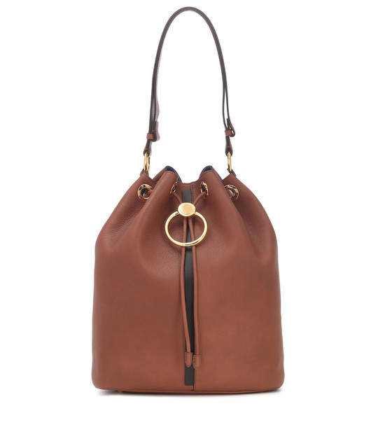 Marni Earring leather bucket bag in brown