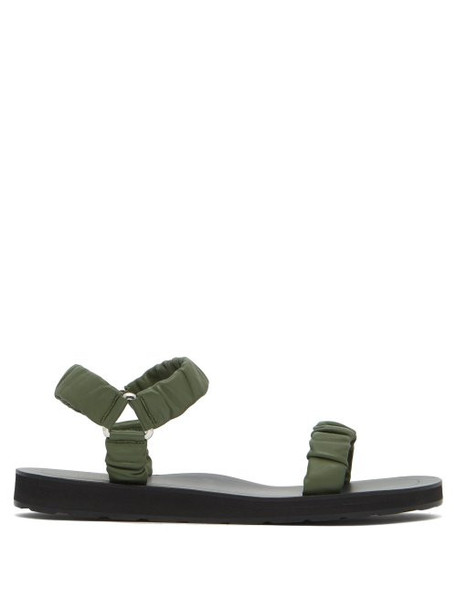 The Row - Egon Ruched Leather Sandals - Womens - Green