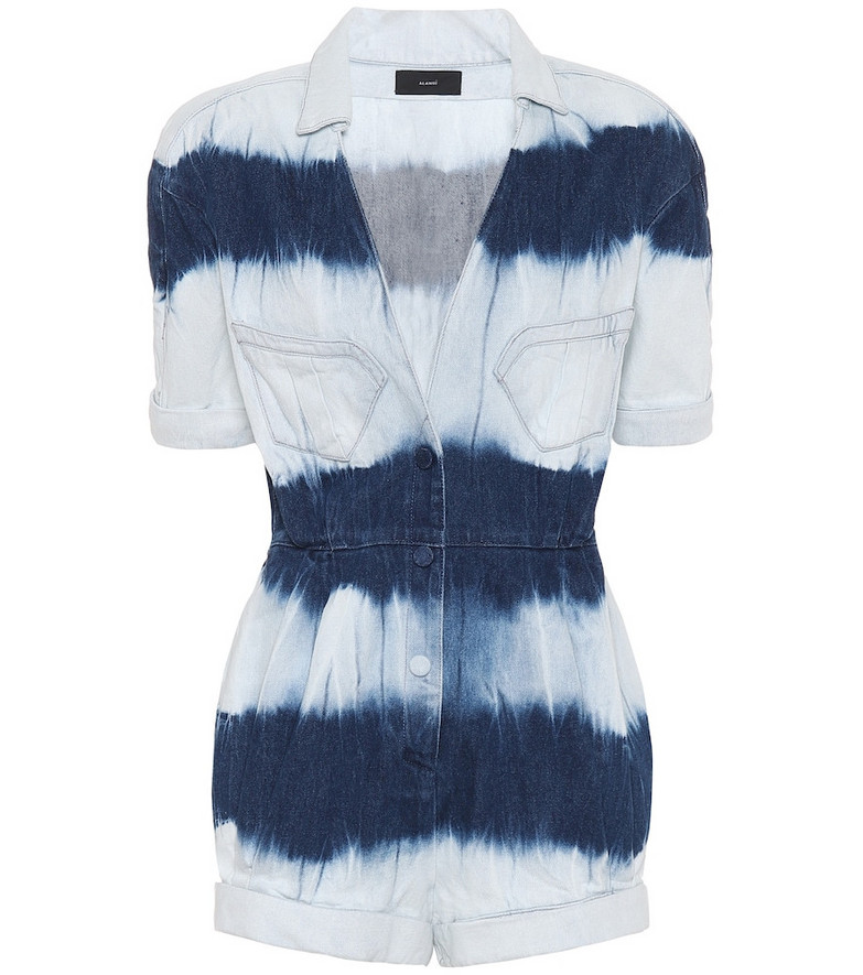 Alanui Tie-dye denim playsuit in blue