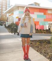 sweater,turtleneck sweater,knee high boots,socks,denim skirt,mini skirt,striped shirt,long sleeves,beanie