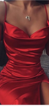 dress,red,red dress,speghetti  strap,cowl neck