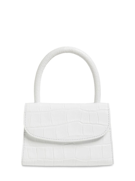 BY FAR Mini Croc Embossed Leather Bag in white