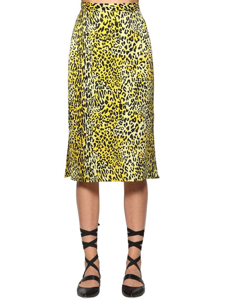 BAUM UND PFERDGARTEN Sally Leo Print Silk Jacquard Midi Skirt in black / yellow
